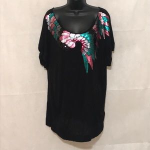 H&M Sweet Faced Peacock Tunic Size L—E1